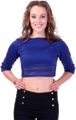 Sassafras Casual 3/4 Sleeve Solid Women Blue Top at flipkart