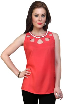 Pannkh Casual Sleeveless Solid Women Orange Top at flipkart