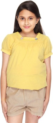 Citypret Girls Casual Cotton Top(Yellow, Pack of 1)
