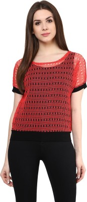 MAYRA Party Short Sleeve Solid Women Red Top MAYRA Women's Tops