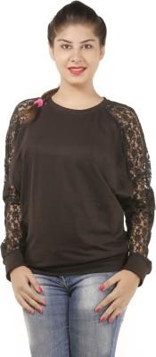 Lady Stark Casual Full Sleeve Self Design Women Black Top at flipkart