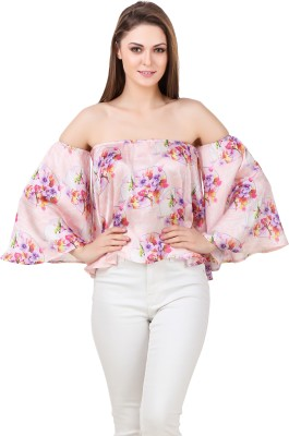 Texco Casual 3/4th Sleeve Floral Print Women Purple, White Top