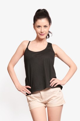 Miss Chase Party Sleeveless Solid Women Black Top at flipkart