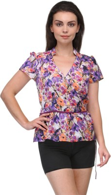 Raas Pret Casual Puff Sleeve Floral Print Women Multicolor Top at flipkart