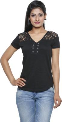 Five Stones Casual Short Sleeve Solid Women Black Top at flipkart