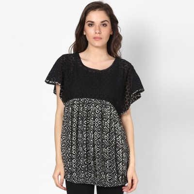 Taurus Formal Short Sleeve Printed Women Black, White Top at flipkart