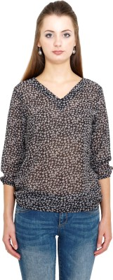 Kooo Casual 3/4th Sleeve Printed Women's Black Top