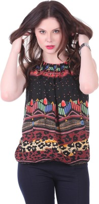 Crease   Clips Casual Sleeveless Printed Women Multicolor, Black Top