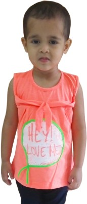 Instyle Girls Casual Cotton Top(Orange, Pack of 1)