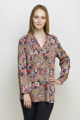 Oxolloxo Casual Full Sleeve Floral Print Women Beige Top at flipkart
