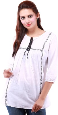 Goodwill Impex Casual 3/4 Sleeve Solid Women White Top at flipkart