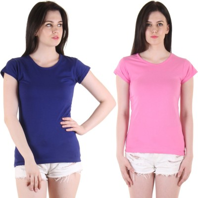 Diaz Casual Short Sleeve Solid Women Blue, Red Top