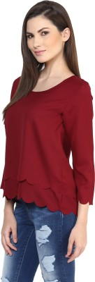 Rare Casual 3/4 Sleeve Solid Women Maroon Top Rare Women's Tops