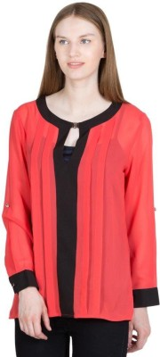Global Elle Casual Full Sleeve Solid Women's Red Top