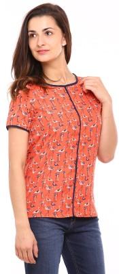 Vvoguish Casual Short Sleeve Printed Women Orange Top