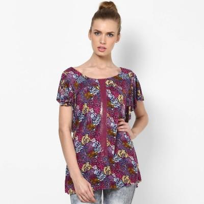 Taurus Casual Short Sleeve Printed Women Purple Top at flipkart