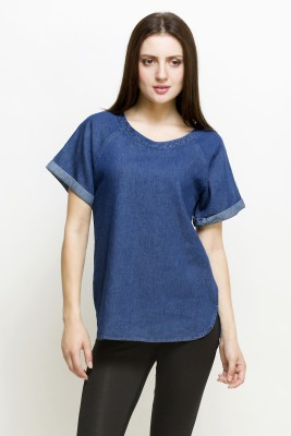 Oxolloxo Casual Short Sleeve Solid Women Blue Top at flipkart
