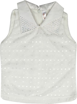 Hunny Bunny Girls Party Lace Top(White, Pack of 1) at flipkart