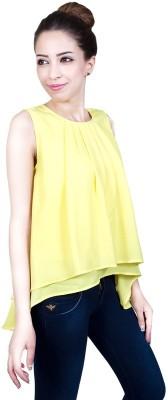Urban Religion Casual Sleeveless Self Design Women's Yellow Top