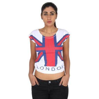 LondonHouze Casual Short Sleeve Printed Women White Top LondonHouze Women's Tops