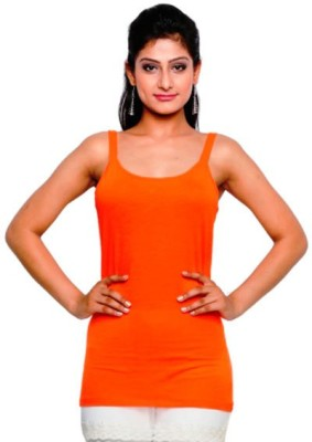 Five Stones Casual Sleeveless Solid Women Orange Top at flipkart