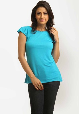 Miraaya Casual Cap Sleeve Solid Women's Light Blue Top