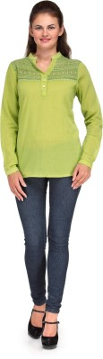 INDIA INC. Casual Full Sleeve Solid Women's Green Top  available at flipkart for Rs.249