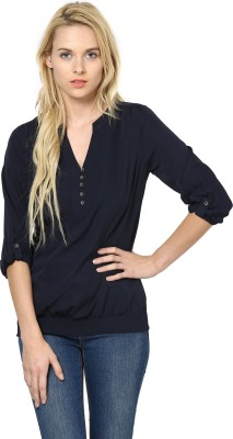 Harpa Casual Roll-up Sleeve Solid Women's Blue Top