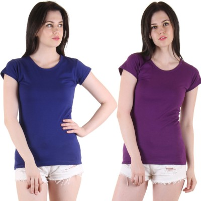 Diaz Casual Short Sleeve Solid Women Blue, Purple Top