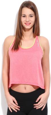 Reebok Casual Sleeveless Self Design Women's Pink Top