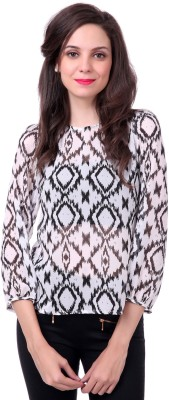 Sassafras Casual 3/4 Sleeve Printed Women White, Black Top at flipkart