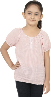 Eves Pret A Porter Girls Casual Cotton Top(Red, Pack of 1)
