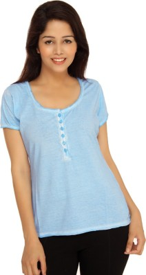 View Bongio Casual Short Sleeve Solid Women s Blue Top Price Online 9d291be45