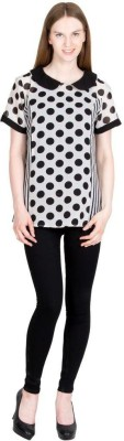 Global Elle Casual Short Sleeve Printed Women's White Top