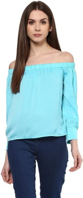 Harpa Casual Full Sleeve Solid Women Light Green Top