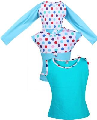 Gkidz Girls Casual Cotton Top(Light Blue, Pack of 3)