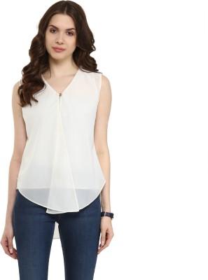 PANNKH Casual Sleeveless Printed Women White Top PANNKH Women's Tops
