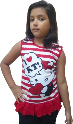 Instyle Girls Casual Cotton Top(Red, Pack of 1)