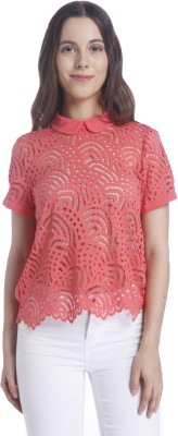 Vero Moda Casual Half Sleeve Self Design Women