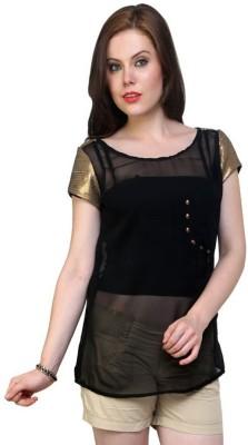 Pannkh Casual Short Sleeve Solid Women Black Top at flipkart