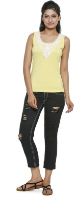 Five Stones Casual Sleeveless Solid Women Yellow Top at flipkart