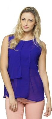 Miss Chase Casual Sleeveless Solid Women Dark Blue Top