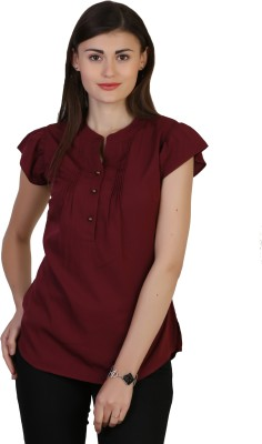 Belle Fille Casual Short Sleeve Solid Women's Maroon Top