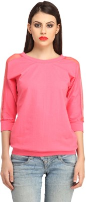 Cation Casual 3/4th Sleeve Solid Women's Pink Top