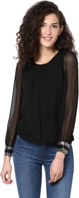 Harpa Casual Full Sleeve Solid Women's Black Top