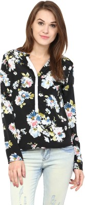 Harpa Casual Full Sleeve Floral Print Women Black, White Top