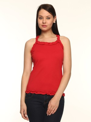 Vvoguish Casual Sleeveless Solid Women's Red Top