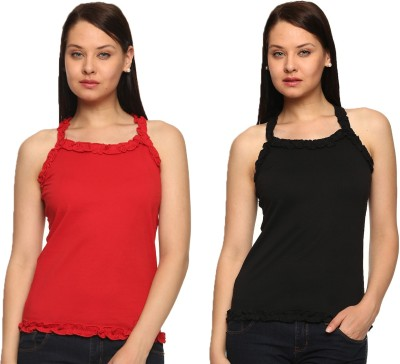 Vvoguish Casual Sleeveless Solid Women's Black, Red Top
