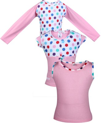 Gkidz Girls Casual Cotton Top(Pink, Pack of 3)