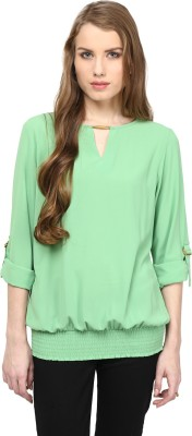 Rare Casual Roll up Sleeve Solid Women Green Top